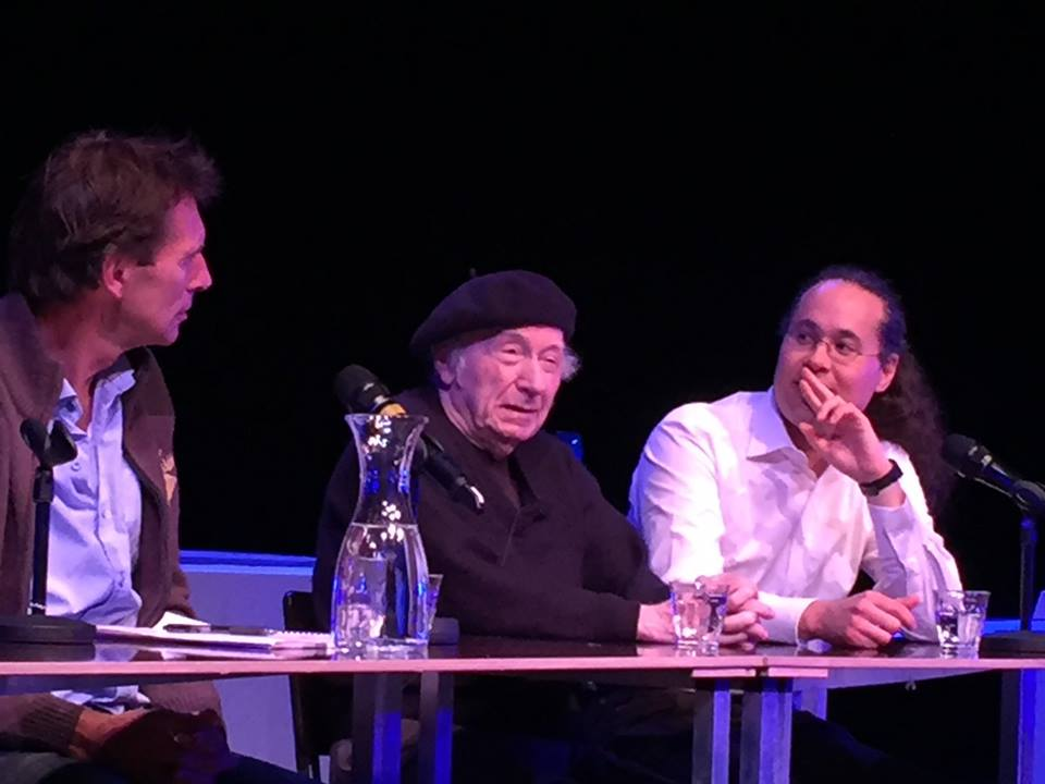 "Edgar Hilsenrath with the Dutch director Aike Dirkzwager (left) and his manager Ken Kubota (right). Discussion before the theater performance of ""De nazi en de kapper"" (""The Nazi and The Barber"") in Haarlem, near Amsterdam, October 2016."