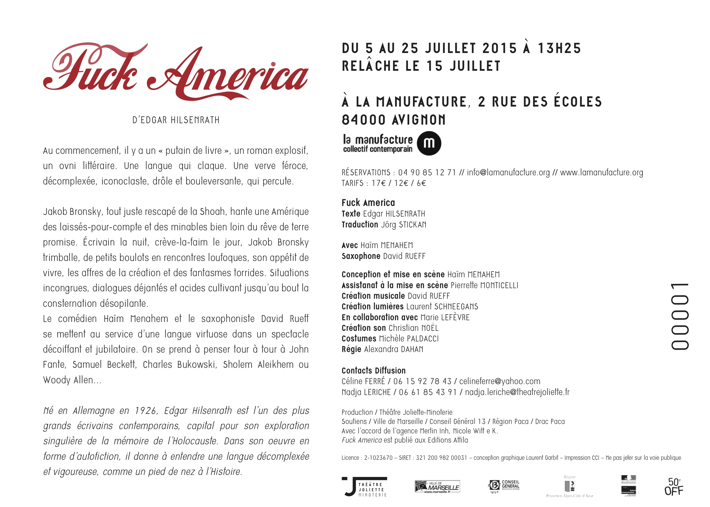 Flyer Fuck America (back)