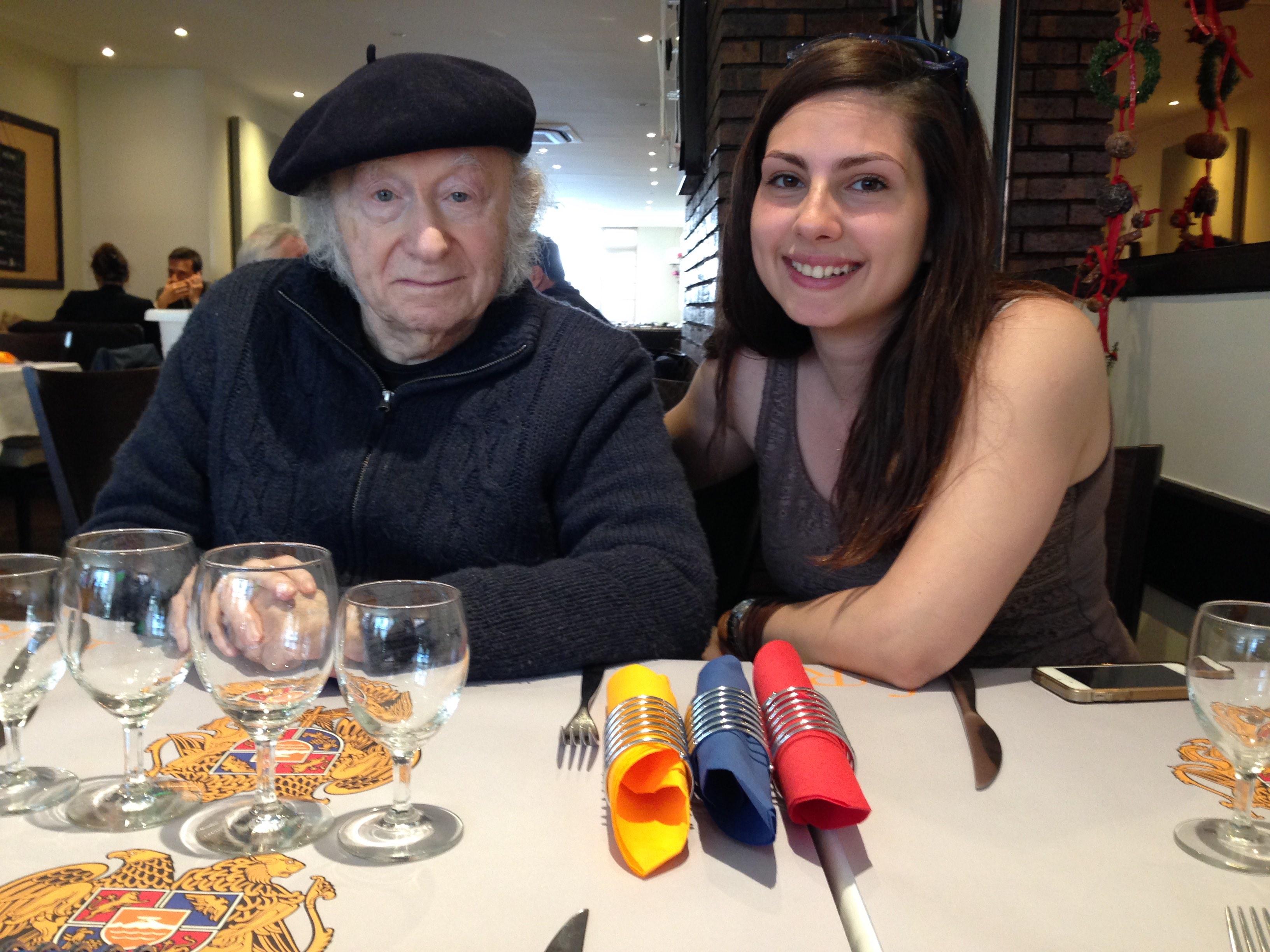 Edgar Hilsenrath with Anna Karabekyan in an Armenian restaurant in Paris, April 2015.