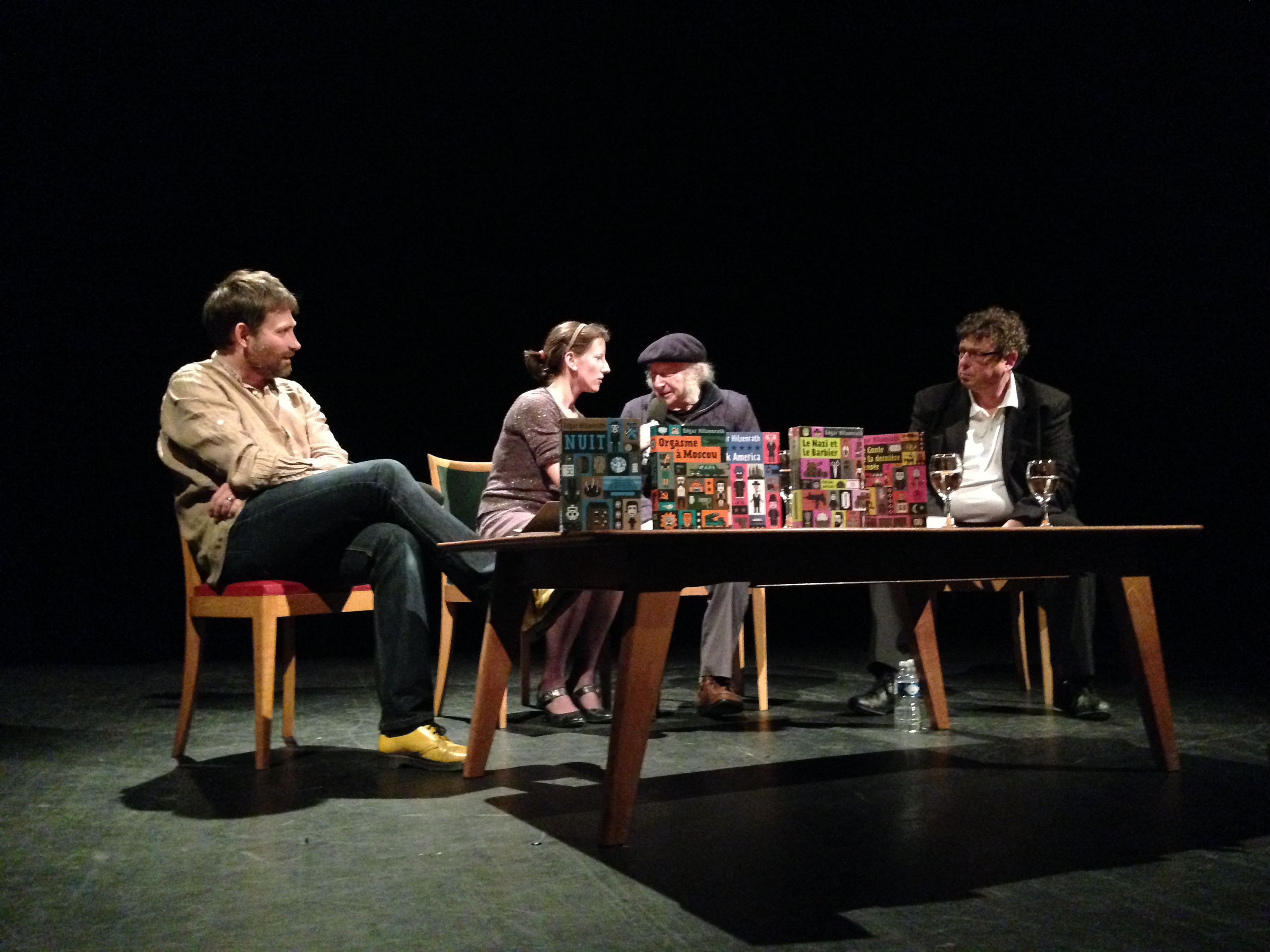 """Edgar Hilsenrath with his French publisher Frédéric Martin, the translator Anne Thomas, and the director of the Goethe Institute Paris Joachim Umlauf in the Maison de la Poésie in Paris at a discussion about the """"The Story of the Last Thought"""", April 2015."""