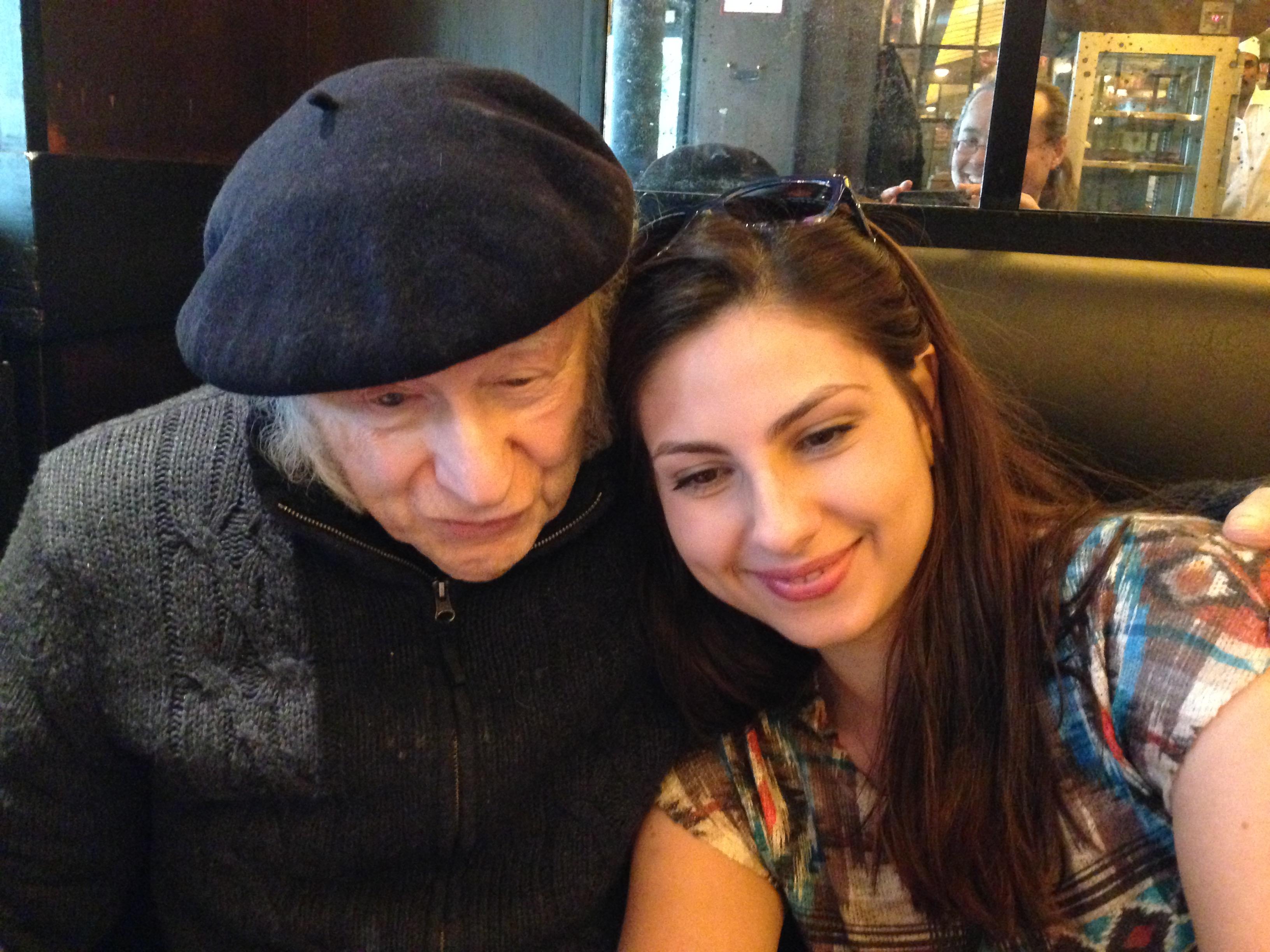 Edgar Hilsenrath with Anna Karabekyan in a café in Paris, April 2015.