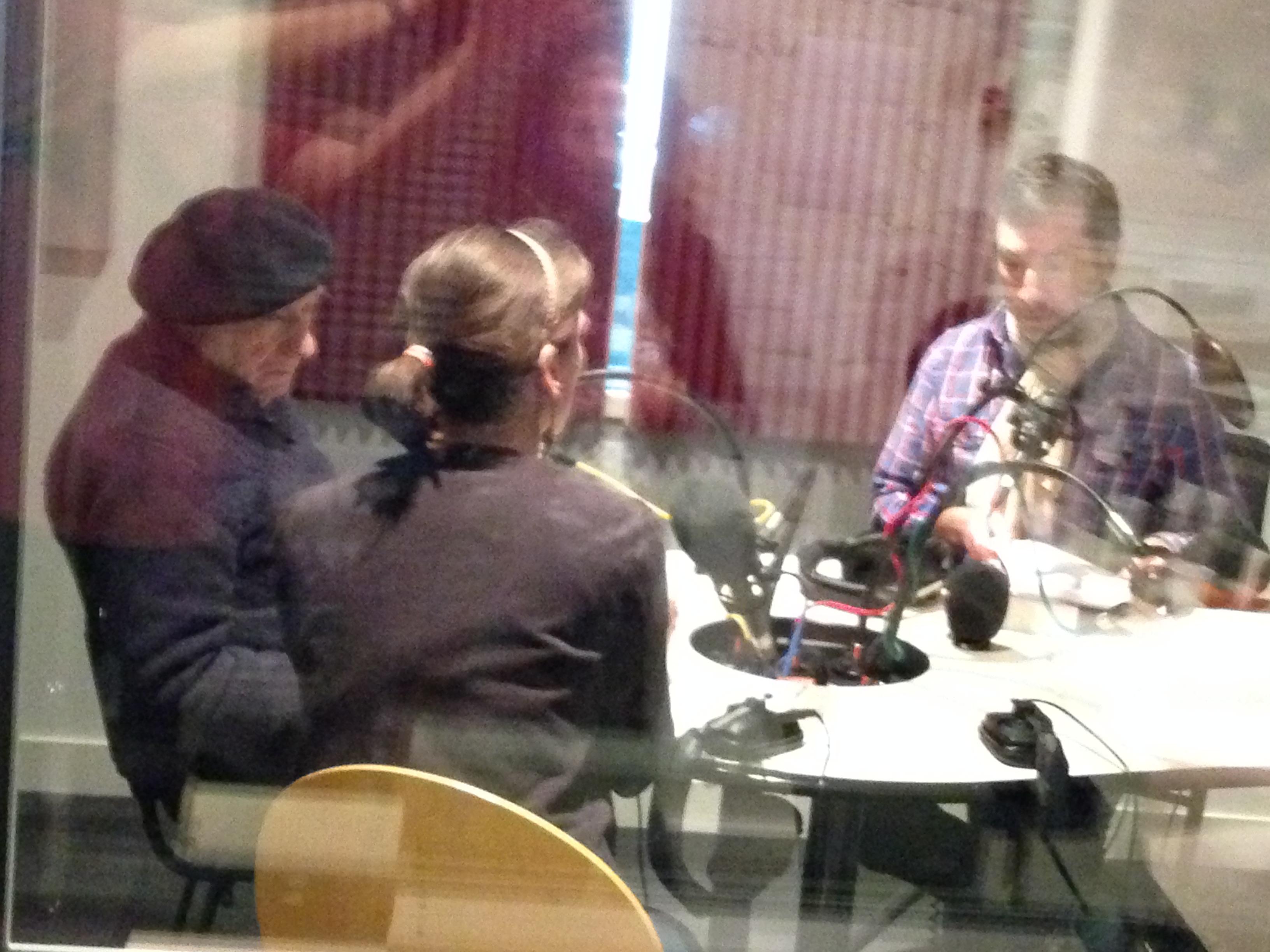 Edgar Hilsenrath with his translator Anne Thomas at a radio station in Paris, April 2015.