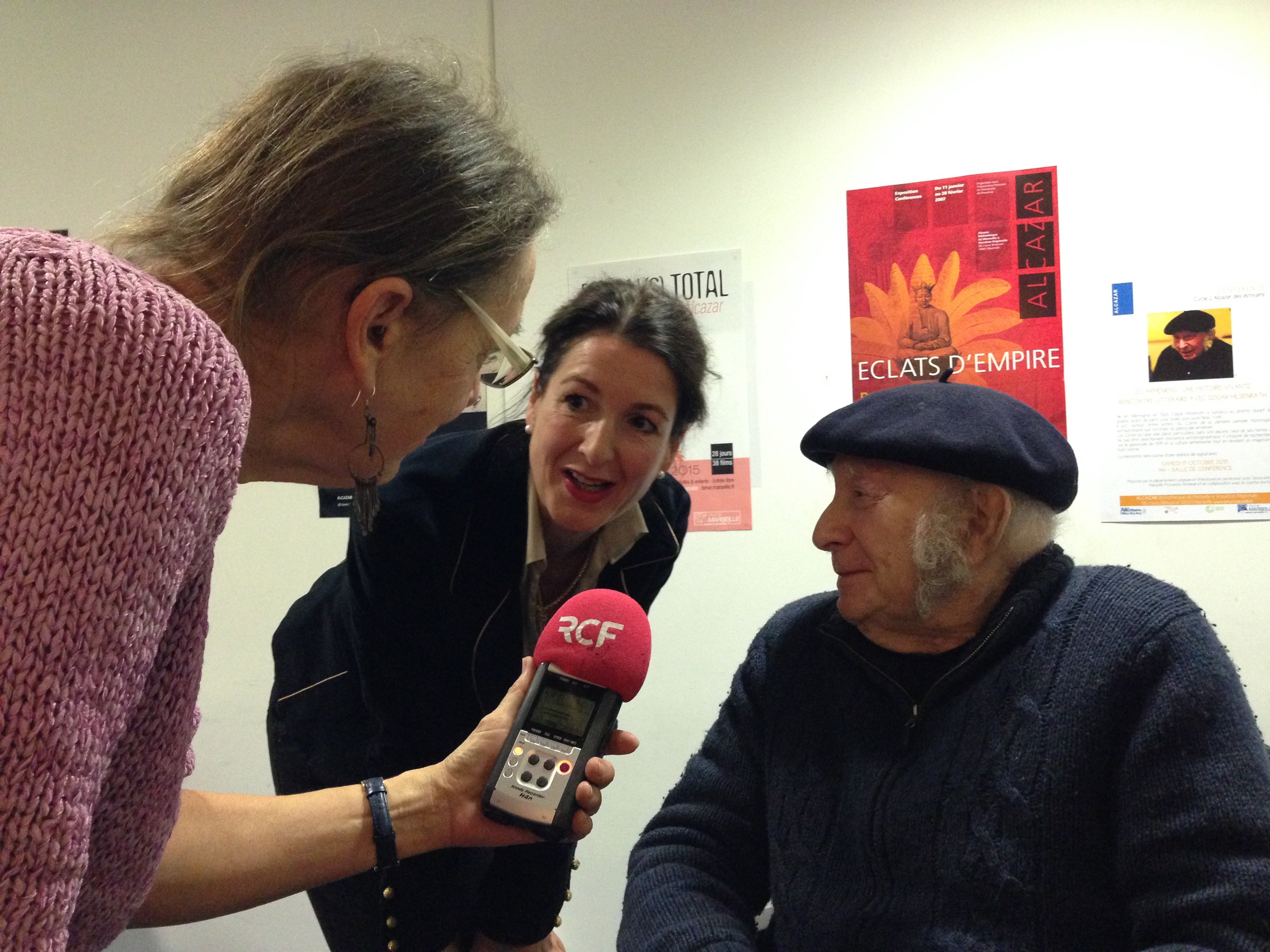 Edgar Hilsenrath with the translator and a radio interviewer in Marseille, October 2015.